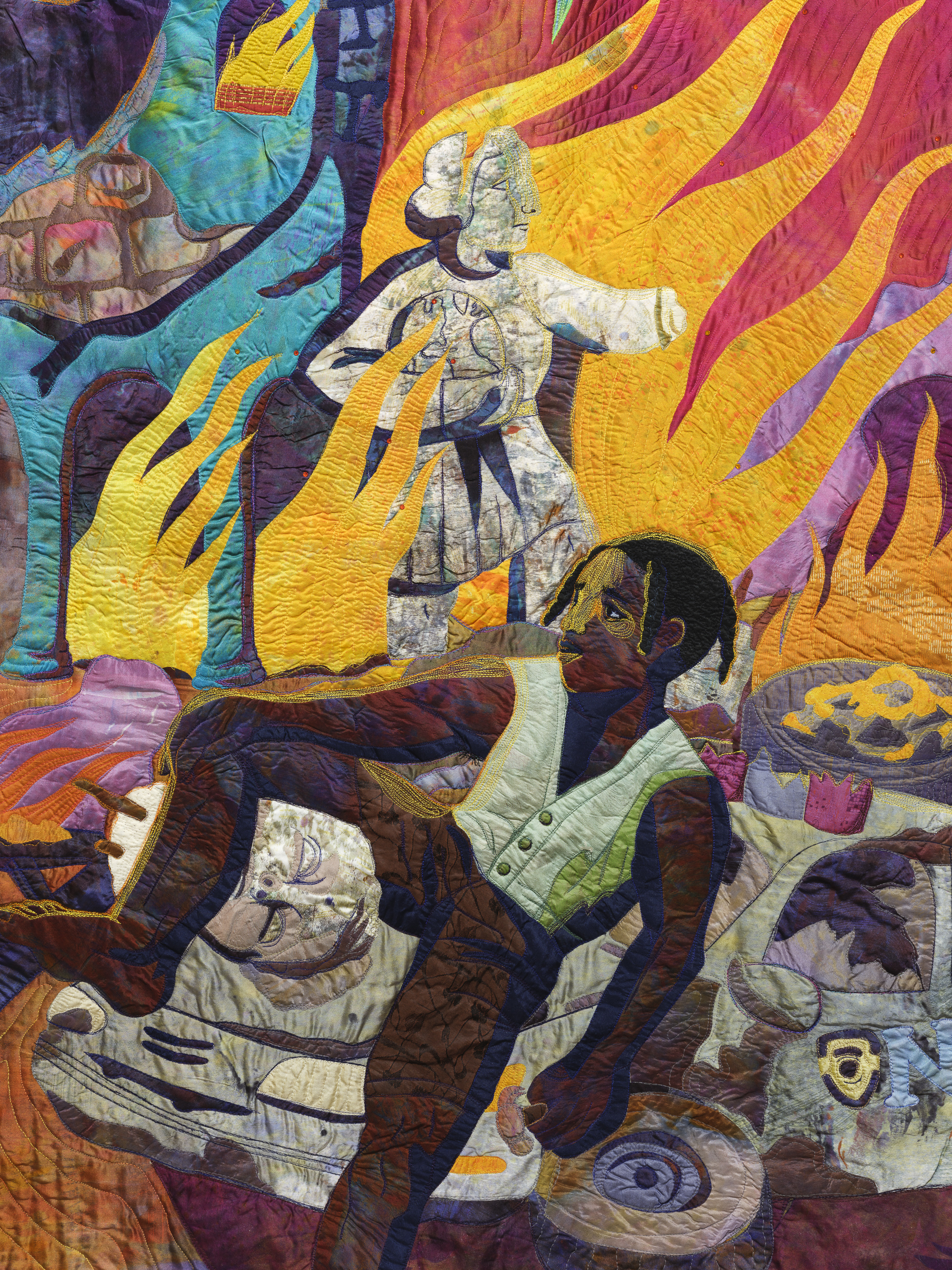 Close up detail of colorful artwork depicting an African American sitting on the hood of a car and surrounded by fire.